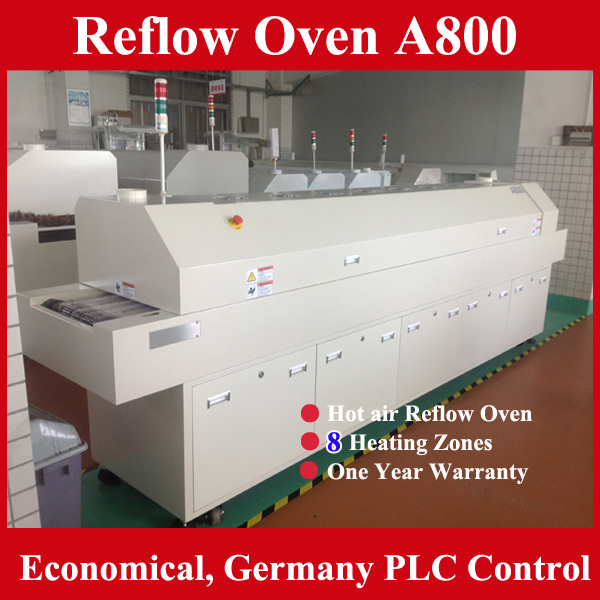 Trade assurance reflow soldering 8 zones SMT lead free hot reflow oven A800