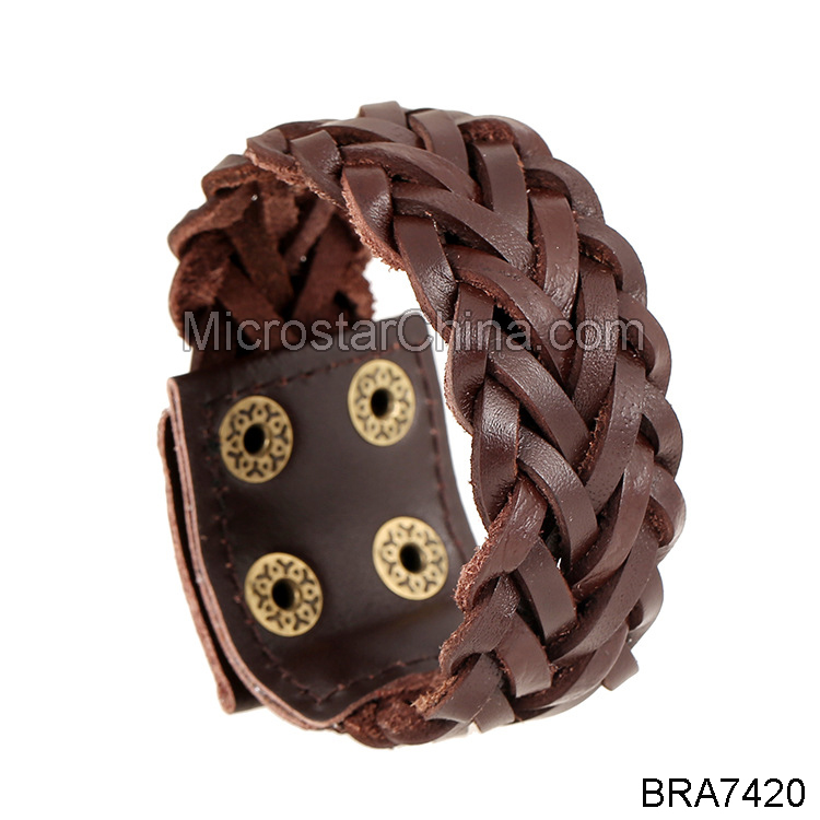 New Listing Fashion Handmade Woven Genuine Popular Men's Leather Bracelet