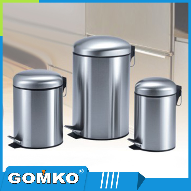 bathroom stainless steel trash can/dustbin/foot pedal bin with inner bucket