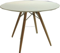 532 Round table top with wooden color metal legs in coffee table modern