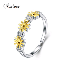 wholesale inexpensive 925 sterling silver two color sun flower ring jewelry R20116