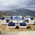 luxury outdoor furniture white sofa sets wicker lounge sofa for sale