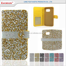 Rhinestone luxury bling diamond PU leather flip mobile phone case for samsung galaxy note 2 3 4 5 A9 cases