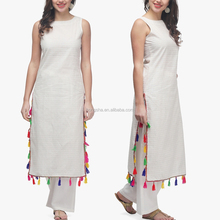 Latest Elegant Off White Printed Sleeveless Pathani Kurta With Pom Pom Trim Designer Long Kurti Designs HSd5016