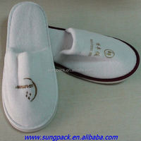 White Velvet Disposable Hotel Slippers With