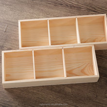 nature wood color 3 grids wooden tea box