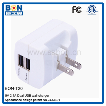 ETL Dual USB Wall Charger 5V 3A
