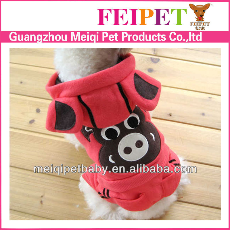 2013 beautiful design red dog clothes with hoodie