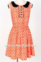 2012 New arrival high summer print crepe lady uk dress, available stock goods with quick delivery