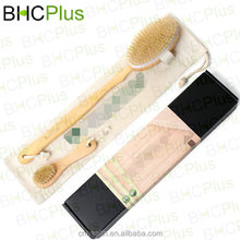 New & Hot 100% Natural Boar Bristle Body Brush & Face Brush Set for Dry Brushing Bath & Shower with Long Handle