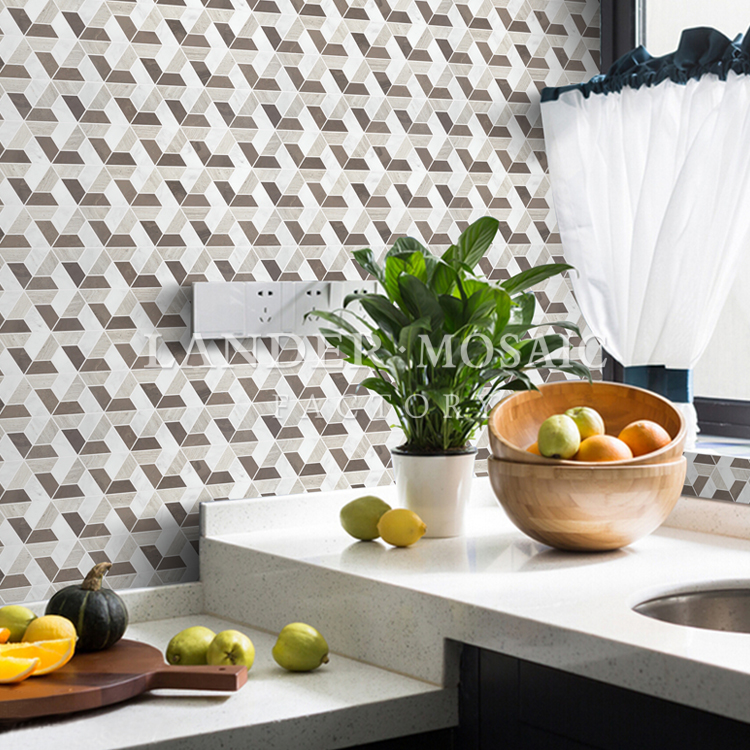 white grey and black color mixed marble mosaic tile hexagonal third dimension floor mosaic tile