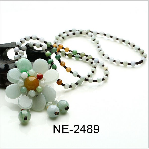 Fancy Women Jewelry Carving Beads Sun Flower Series Jade Ethnic Pendant Necklaces
