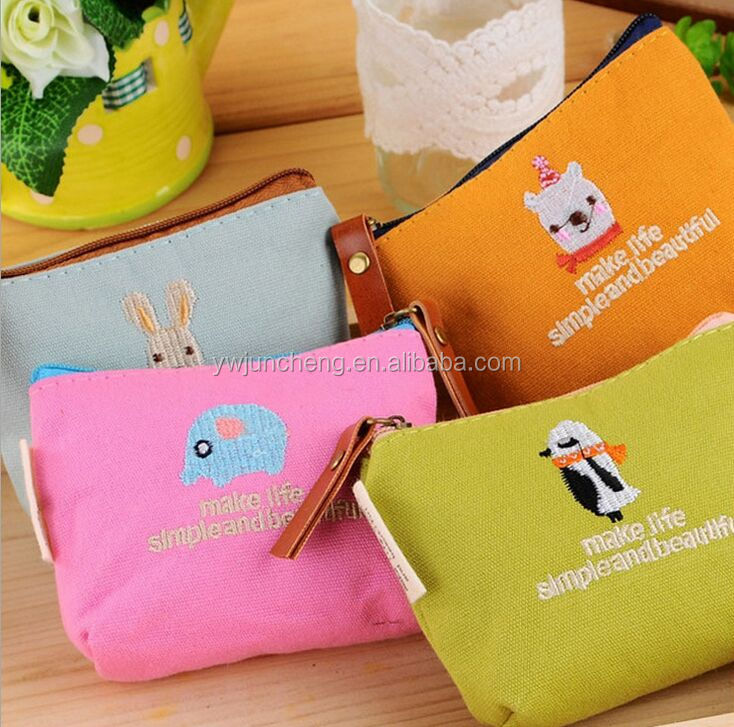 newest lovely fashion convenient cheap canvas embroidery coin purse