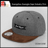 China Manufacturer Two Tone Wool 6 Panels Custom Simple Snapback Cap