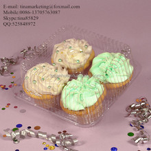 4 Unit Clear BOPS Material Plastic Hinged Cupcake Box / Clamshell Muffin Container