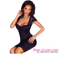 Black Lace Splice Cut Out Back Pleated designer one piece party dress