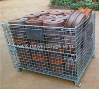 Collapsible steel pallet cage/Rolling mesh box/Customized folding wire mesh container