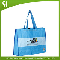 promotional blue pp woven laminated tote bag/cheap personalized gift bag with logo