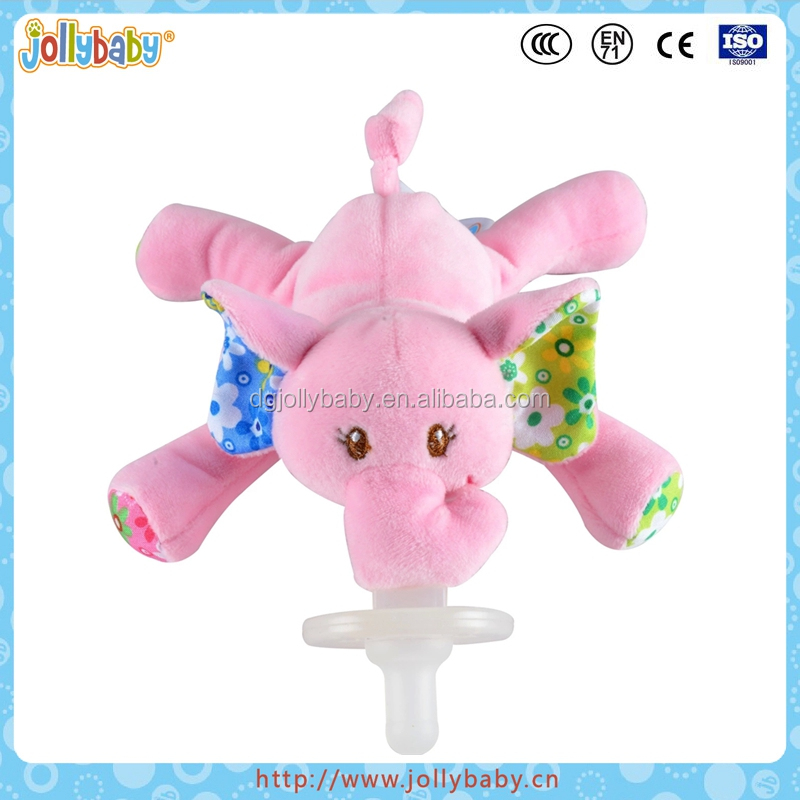 New Arrival Top Grade Quality Medical Silicone Newborns And Babies Plush Pink Elephant Baby Pacifier