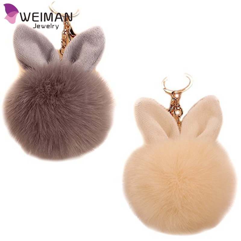 2017 Rabbit Ears Fur Ball Bag Charms with Golden Keyring Pom Pom, Fluffy Fur Ball Keychain for Car Keyring, Charm Gift