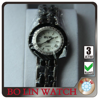 white dial black stainless steel watch strap Luxury Ladies' japan movt diamond watch from bo lin watch