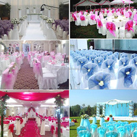Hot selling Fashionable organza chair cover sashes for wedding decoration