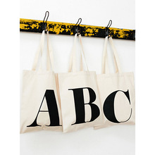 wholesale custom black letter print cotton canvas shopping bags with logos