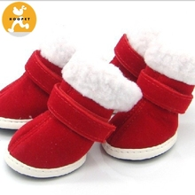 Detachable Closure Puppy Dog Shoes Booties Boots Red 2 Pairs