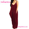 Wind Red Deep V Neck Casual Wholesale Long Beach Dress