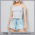 Latest Fashion Sexy Square Neckline Shirred Design Spaghetti Straps Cropped Hem Pale Blue Cami Top