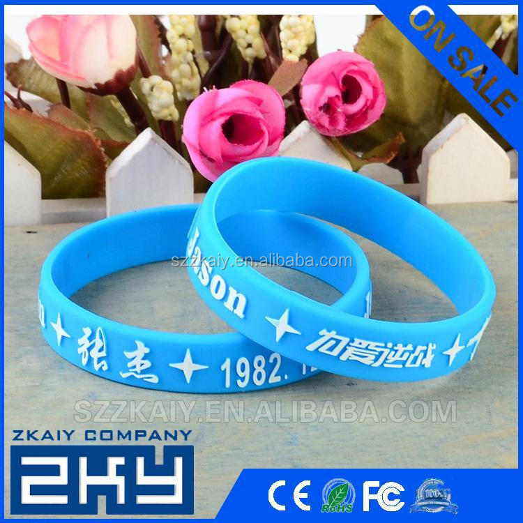 Cheap price customized debossed/laser engrave silicone wristbands
