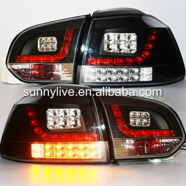 2009-2012 Year VW Golf 6 MK6 LED Tail Lamp Rear Lights Black Housing Clear Cover SN