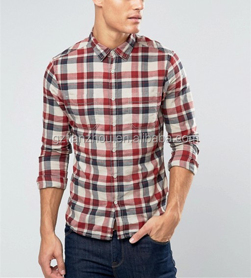 Hot Fashion Casual Men Shirt Slim Fit Check Shirt With Double Pockets