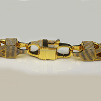 CZ Paved 18K Gold Stainless Steel Box Lobster Clasp MJHG001