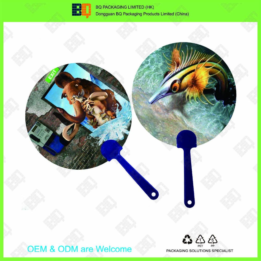 hot sale OEM&ODM customized size and shape PP handle 3D lenticular hand fan