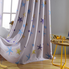 Blackout Carton Printing Grommets Curtains Starfishl Pattern Drapes for Childrens' Room/Living Room