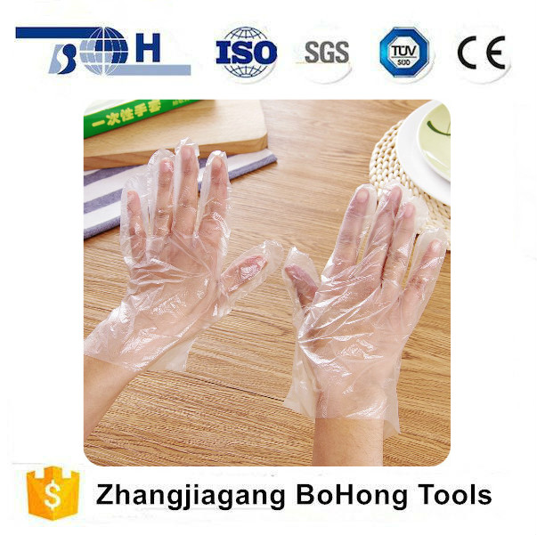 Transparent water and oil proofing disposable PE gloves