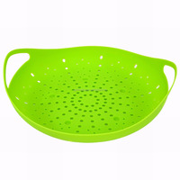 JK12791F Silicone Vegetable Food Steamer with Built-in Handles and 4 Legs for Elevating Food
