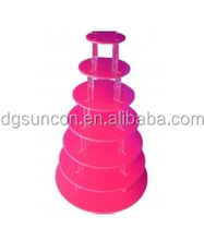 standard size 7 tier pink acrylic cupcake display stand