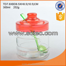 wholesale round clear glass food storage jar with mushroom shape lid and spoon