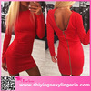 Sexy Wholesale Red Long Sleeve Zip Open Back Metallic Tight Dress