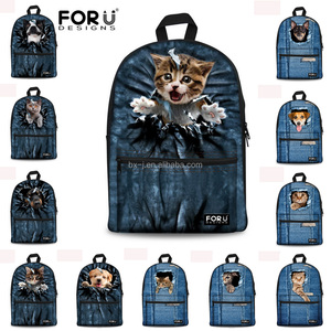 Wholesale Dog Print Book Laptop Sport Travelling Clear Satchel for Women Kid Baby Men Canvas School Backpack Bag From China