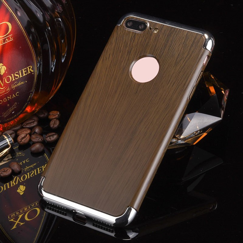 For iPhone 7 accessory wooden pattern 3 in 1 plastic frame PU leather case for iphone 7 plus for iPhone 7 accessory