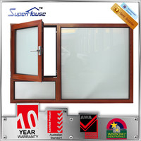 Modern french casement design aluminium side opening window in wood color