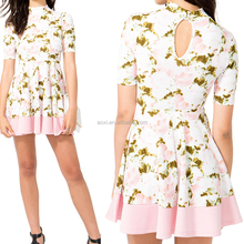 Summer Elegant Floral Pink Overlap Short Sleeve Ldies Dress