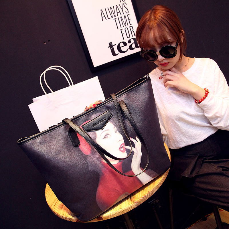 Beautiful korean ladies pu hand bags women black printed handbags tote