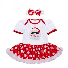 QX1072 The new 2017 baby girls dot short-sleeved cotton Christmas dress two-piece female children's rompers factory direct sale