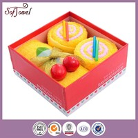 Cake shape promotional gift towel,also set in gift box
