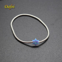Fashion Elastic String Synthetic David Opal Bracelet with 925 Sterling Silver Beads