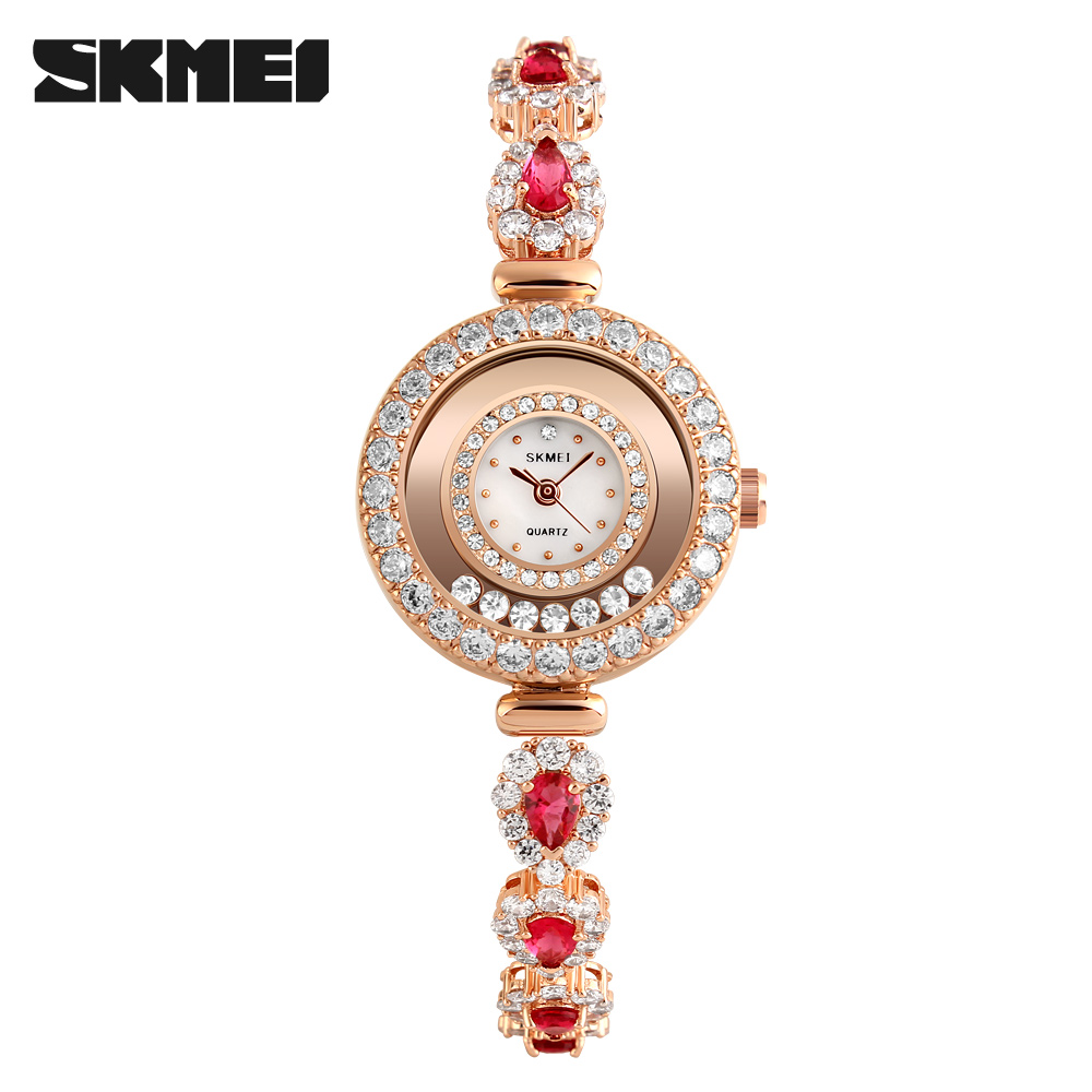 Top selling Skmei luxury ladies 3atm water resistant high quality diamond quartz watches #1201